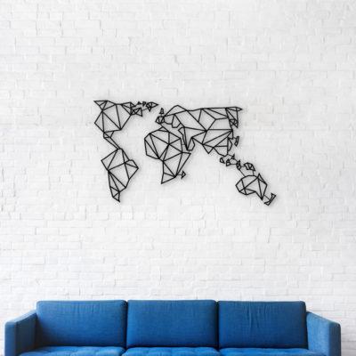 Metal World Map - Matt Black with Frames